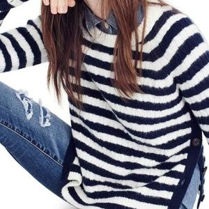 NWT J Crew Blue & White Striped Cable Cozy Sweater